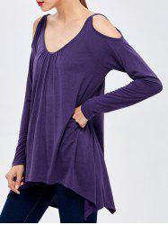 Open Shoulder Ruched Asymmetric T-Shirt