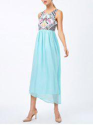 Sleeveless Geometric Print High Waist Dress