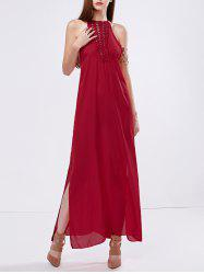 Crochet Panel Side Split Maxi Evening Dress
