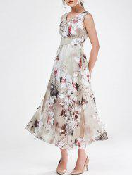V Neck Sleeveless Floral Chiffon Maxi Wedding Guest Dress - GRAY