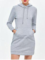 Casual Long Sleeve Drawstring Mini Hoodie Dress