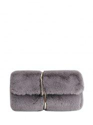 Metal Embellished Faux Fur Clutch Bag - GRAY