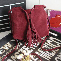 Suede Tassel Drawstring Cross Body Bag - RED