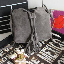 Suede Tassel Drawstring Cross Body Bag - GRAY