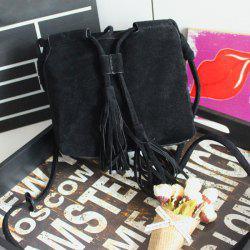 Suede Tassel Drawstring Cross Body Bag