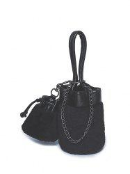 Plush Insert Chains Bucket Bag