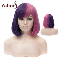 Adiors Short Silky Straight Bob Full Bang Colormix Synthetic Wig