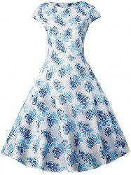 Plus Size Floral Pattern Vintage Dress -
