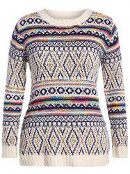 Plus Size Argyle Chunky Knit Sweater - OFF-WHITE