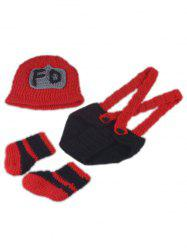 3PCS Fireman Design Knitted Baby Boy Blankets Photography Clothes Set