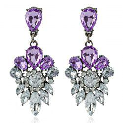 Rhinestone Faux Gem Water Drop Earrings - PURPLE