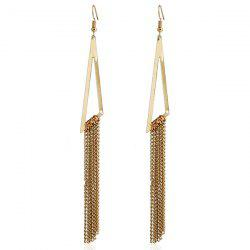 Triangle Chain Tassel Drop Earrings