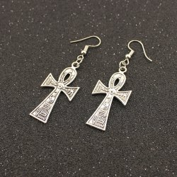 Embossed Cross Drop Earrings