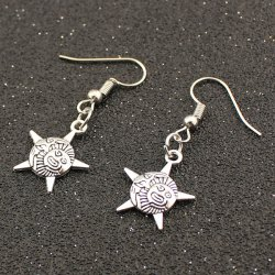 Five Point Star Face Drop Earrings