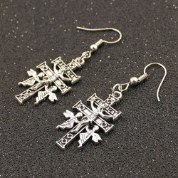 Angel Cross Drop Earrings