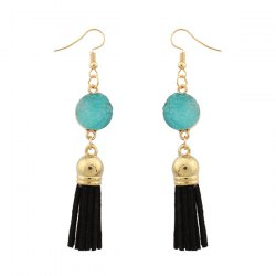 Fake Gem Tassel Druzy Earrings