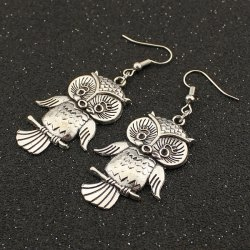 Night Owl Drop Earrings - TB009 SILVER
