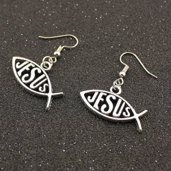 Letter Fish Drop Earrings - TB009 SILVER