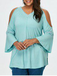 V Neck Plus Size Crochet Trim Cold Shoulder Tee - TIFFANY BLUE
