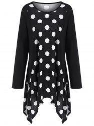 Plus Size Polka Dot Long Asymmetric T-Shirt