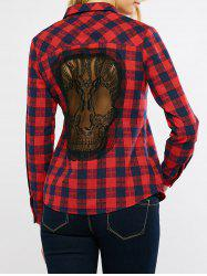 Plaid Lace Panel Skull Pattern Shirt
