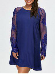 Plus Size Floral Lace Insert Shift Dress