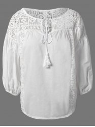 Plus Size Lantern Sleeve Crochet Trim Blouse