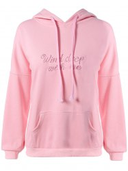 Plus Size Kangaroo Pocket Embroidered Hoodie - PINK