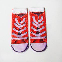 3D Sneakers Shoes Print Crazy Socks - RED