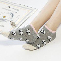2 Pairs of Cartoon Panda Patterned Cotton Blend Short Ankle Socks - COLORMIX