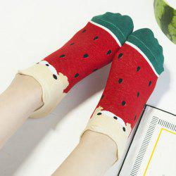 2 Pairs of Watermelon Patterned Cotton Blend Ankle Socks - COLORMIX