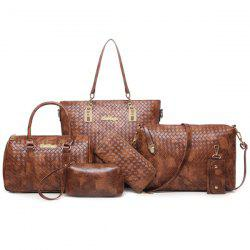 6 Pcs Textured Faux Leather Handbag Set - BROWN