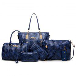 6 Pcs Textured Faux Leather Handbag Set