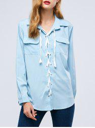 Lace-Up Front Shirt with Pockets