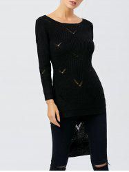 Slit Ripped High Low Sweater