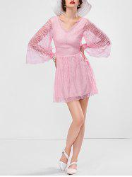 Bell Sleeve Mini Lace Short Dress with Sleeves - PINK