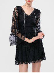 Bell Sleeve Mini Lace Short Dress with Sleeves