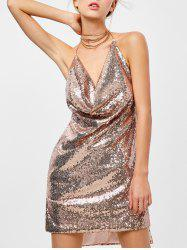Mini Halter Draped Sequin Backless Club Dress - GOLDEN
