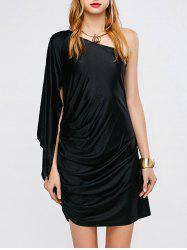 One Shoulder Ruched Cape Mini Prom Dress