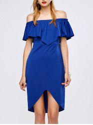 Flounced Off-The-Shoulder High Low Bardot Dress - BLUE