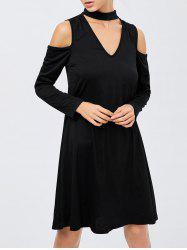 Cold Shoulder Cut Out A Line Club Dress