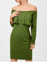 Long Sleeves Flounced Off The Shoulder Dress -