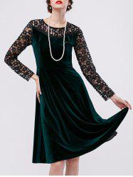Lace Openwork Velvet Swing Dress
