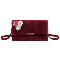 Flowers Suede Crossbody Bag