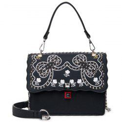 Faux Leather Rivet Embroidered Handbag