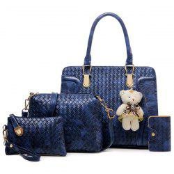 4 Pcs Textured Faux Leather Handbag Set -