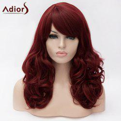 Adiors Long Side Bang Shaggy Wavy Synthetic Wig - DARK RED