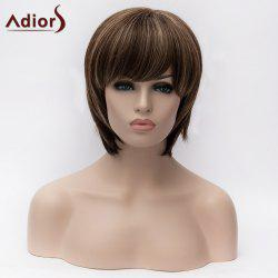 Adiors Short Inclined Bang Silky Straight Colormix Bob Synthetic Wig