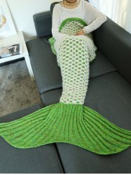 Double Deck Hollow Out Mesh Crochet Knit Mermaid Blanket Throw - LIGHT GREEN