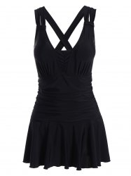 Plus Size Skirted Ruched One Piece Criss Cross Swimsuit -